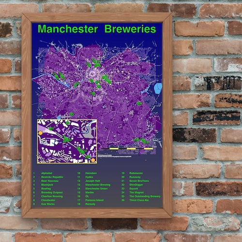 example Manchester breweries map poster shown in slideshow